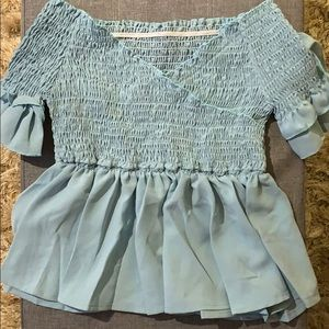 Frilled and Waist Synched Blue Blouse
